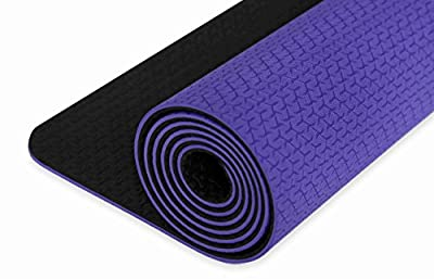 IUGA Non Slip Yoga Mat, Free Yoga Bag & Carry Strap, Eco Friendly & SGS Certified TPE material – Odorless, Non Slip, Durable and Lightweight, Dual Color Design, Thickness ¼ Inch