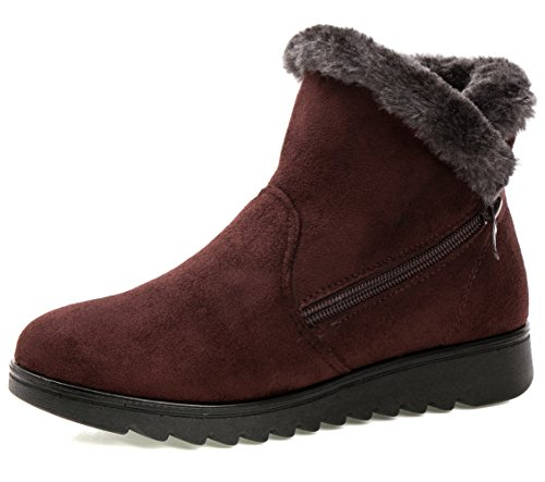 er Warm Side Zipper Warm Snow Boots Brown US Size 8.5 ()