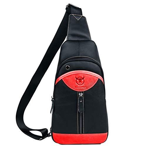 para Bolso Hombro Y Viajar Negro De Negro Rojo Genuina Hombres Excursionismo De Los Colegio Vendimia Rojo Y Honda La Negocio Piel Trabajando Pecho PrFwPq1xz