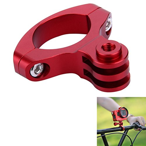 Joint Victory Bike Mount Bicycle Clip Holder Handlebar Adapter for GoPro HERO6/5/4 Session/4/3+/3/2/1,SJCAM SJ4000 and Other Action Cameras (Red)
