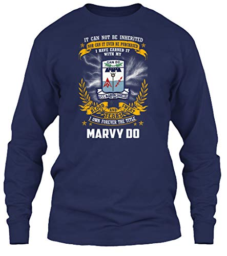 (USS Marvin Shields ff-1066 Blood Sweat - Long Sleeve - Get It Now! Navy)