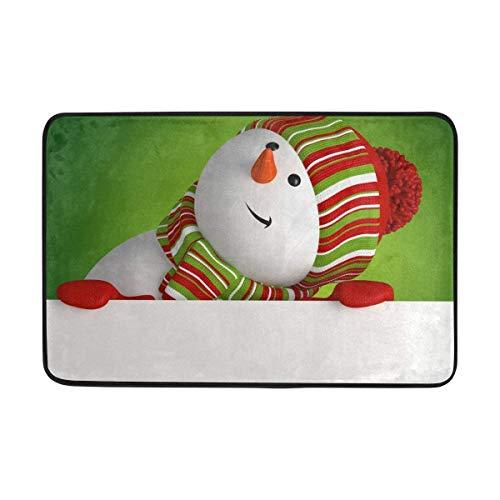 NovManufacture Door mat Snowman Banner Christmas Greeting Non-Slip Door Mat Home Decor,Durable Indoor Outdoor Entrance Doormat 23.6 X 15.7 Inches