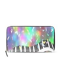 Yochoice Women Lady Wallet,Piano Keys Colorful Music,Purse Credit Card Holder Case