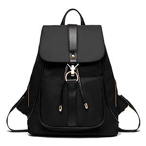 TIBES sac à dos étanche mode sac à dos en nylon pour les filles Noir