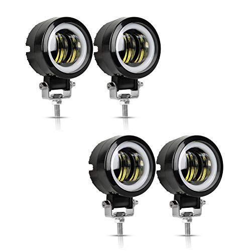 4PCS LED Auxiliary light 40W 3'' Motorcycle LED Fog Driving Running Lights with DRL Angel Eye 6000K White Spot Lighting Off-road Vehicle Marine Work Light, 2 Years Warranty (4PCS,Blue Halo) (Best Auxiliary Driving Lights)