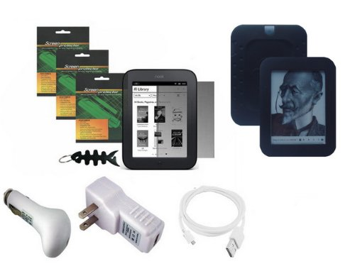 iShoppingdeals - for Barnes & Noble NOOK Simple Touch Wi-Fi (2nd Generation): Black Silicone Case Skin, Car Charger, Travel AC Charger, USB Data Cable, Screen Protector, and Smart Headphone Wrap by iShoppingdeals