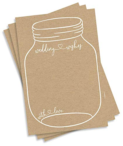 Wedding Wishes – Rustic Kraft Mason Jar (50-Cards) Reception Wishing Guest Book Alternative, Bridal Shower Games Note Card Marriage Best Advice Bride to Be or for Mr & Mrs