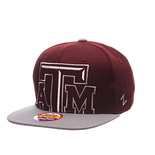 Texas A&M Aggies Youth Peek Adjustable Snapback Cap - NCAA Zephyr Kid's Flat Bill Baseball Hat (And Bill M A Texas Flat Cap)