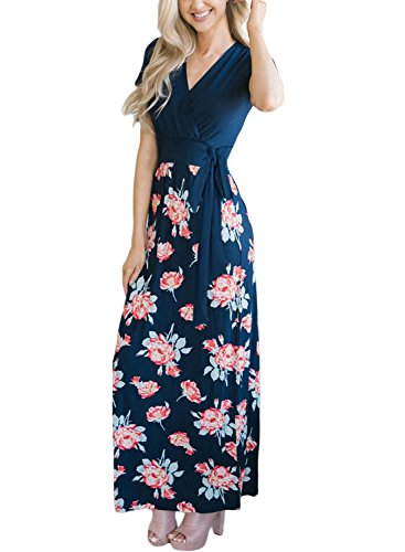Dokotoo Womens Modest Casual Summer V Neck Crossover Empire Waist Wrap Hawaiian Flower Floral Print A Line Flare Maxi Long Dress with Belts Navy X-Large