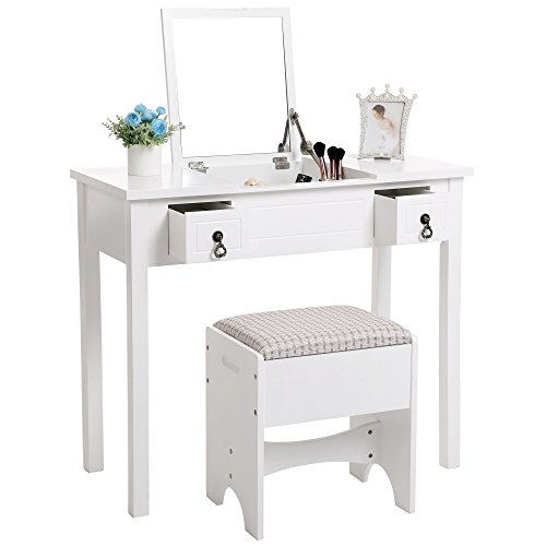 SONGMICS Vanity Set with Flip Top Mirror Makeup Dressing Table Writing Desk with 2 Drawers Cushioned Stool 3 Removable Organizers, Easy Assembly White URDT01M