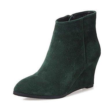 Botas de la mujer Confort Suede confort informal de resorte plano negro verde Black