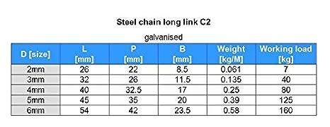 15m Stahlkette verzinkt 3mm Rundstahlkette langgliedrig C2 DQ-PP