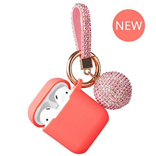 AirPods Case - Compatible with Apple AirPod 1&2 Charging Case with Glitter Ball Keychain Protective Shockproof Silicone Skin Cover Accessories Case (Living Coral)