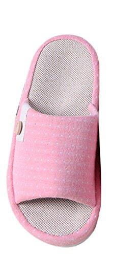 Kiss Or (tm) Respirant Coton Et Lin Intérieur Pantoufles Maison Rose