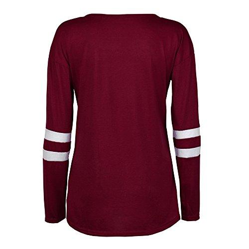 FAMILIZO Señoras energéticos ocasional floja Botón de manga larga de cuello redondo Pullover camisa de la blusa de las tapas Rojo