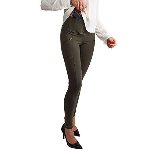 Concealed Zip Pocket - UnderTech Undercover Women's Zip-Pocket Concealed Carry Leggings in Olive Green (Small, right)