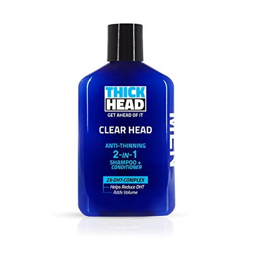 THICK HEAD CLEAR HEAD Men Shampoo and Conditioner 2 in 1 for Thinning Hair or Hair Loss | Adds Volume, Removes Excess Oil, Boost Hair Thickness, Leaves Hair Full and Healthy, Fights Scalp DHT