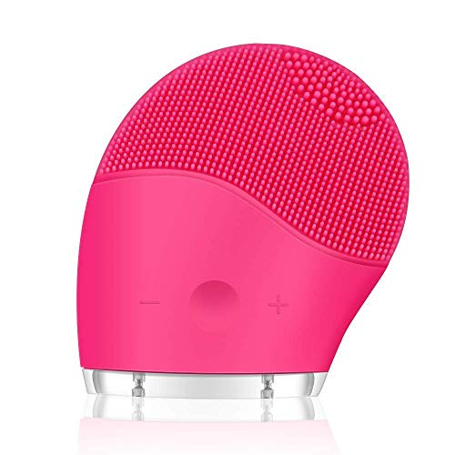 sh Electric Ultrasonic Vibrating Silicone Face Massager Brush Waterproof Anti-Aging Skin Cleanser USB Rechargeable Battery(Pink) ()