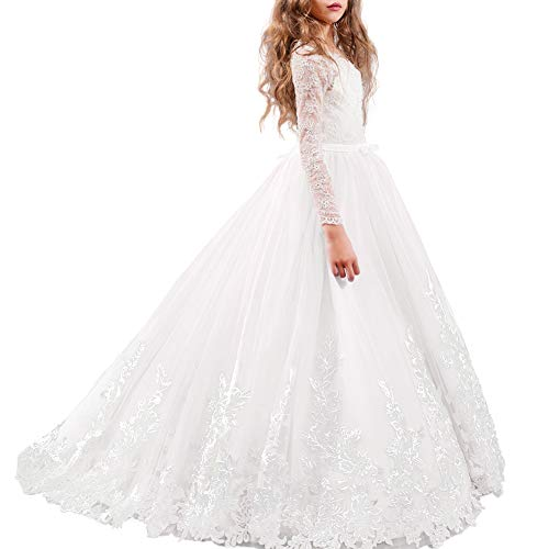 FYMNSI Flower Girl Tulle Dress Kids Lace Beaded Pageant Long Sleeve First Communion Christmas Wedding Cocktail Ball Gowns White 4-5T
