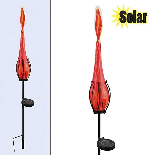 Red Carpet Studios Solar Light with Stake, Red and Yellow Swirl