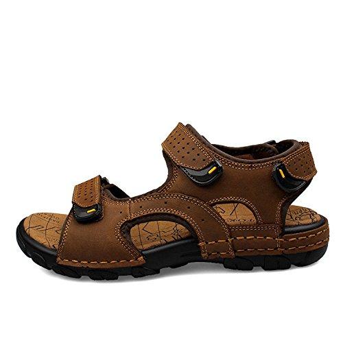 Sport Sandale, Nasonberg Cowhide Unisex Herren Damen Strand Wandern Sommer Sandale im Freien Wandern Sport Sandale- Dunkelbraun, 46 EU