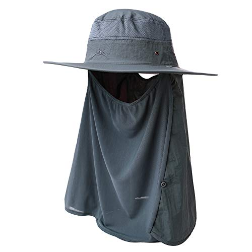 Fancet Mens Safari Wide Brim Sun Blocker UPF Protection Fishing Bonnie Bush Flap Mask Hat Bucket for Women Dark - Safari Hat Headgear