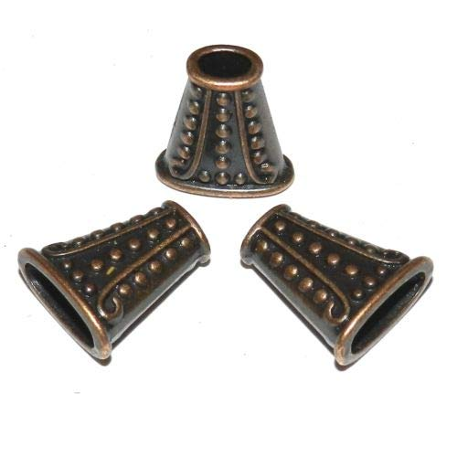 - M383 Antiqued Copper Line & Dot Textured 18mm Flat Oval Metal Bead Cone 10pc Crafting Key Chain Bracelet Necklace Jewelry Accessories Pendants