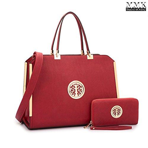 MMK Collection Satchel &Briefcase set~Satchel handbags with Wristlet wallet ~Designer Purse for Women ~ Perfect Women Purse and wrist wallet~ Beautiful Designer Handbag Set (69012828) (6900 Burgendy)