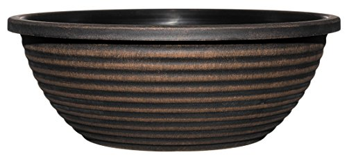 Dorado Planter, 17-inch Large Bowl, Antique Copper (Garden Bowl)