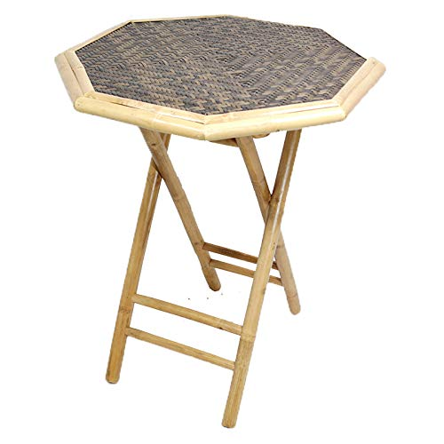Heather Ann Creations Bohemian Bamboo Octagon Folding Bistro Table with Diamond Wood Top, 30 , Natural Tan