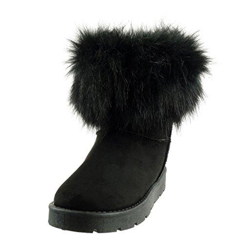 Angkorly Boots Pelz Schwarz 3 Schneestiefel Booty CM Damenmode Schuhe Absatz Ankle Block 1qgrHSx1Bw