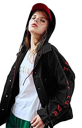 Manica Giacche Mantello Sciolto Cappuccio Donna Jeans Schwarz Giacca Lunga Primaverile Moda Digitale Con Casual Giaccone Elegante Coat Autunno Ricamo Removibile qv4Ffq