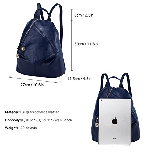 BOYATU Womens Leather Backpacks Ladies Travel Purse Satchel Shoulder School Bags(Royal bule) by BOYATU (Image #3)