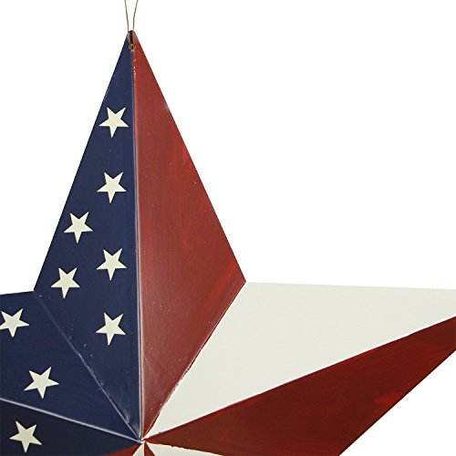 Y&K Decor Patriotic Old Glory American Flag Barn Star Rustic Metal Dimensional 3D Star 4th of July Wall Decor (21'') by YK Decor (Image #1)