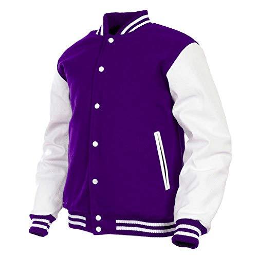 GENZ Mens Women Varsity Jacket Genuine Leather Sleeve and Wool Blend Letterman College Varsity Jackets (Purple(AR-4), Medium) (Varsity Jacket Wool)
