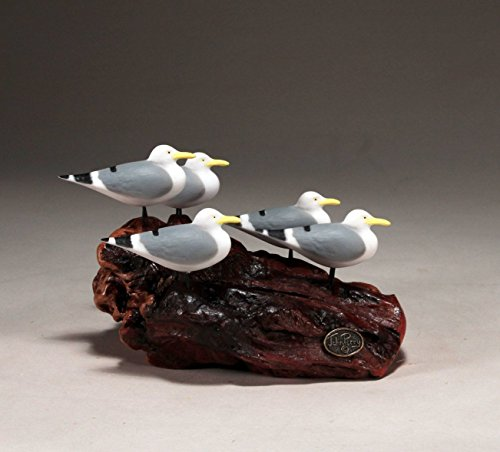 5 Seagull Sculpture by John Perry Hand-painted Statue 6in Long
