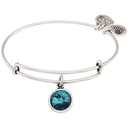 (Alex and Ani Women's December - Blue Zircon Birthstone Bracelet Rafaelian Silver One)