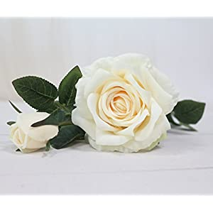 JAROWN Artificial Rose Silk Flowers Fake Leaves Long Branches for Home Wedding Decoration (White) 3