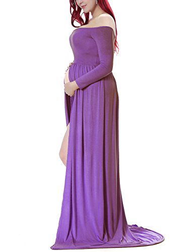 Saslax Maternity Split Front Cotton Maternity Gown Maxi Dress for Photos Shoot