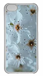 Customized iphone 5C PC Transparent Case - White Spring Blossoms Personalized Cover