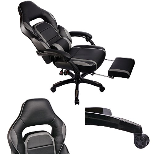 Gaming Chair Racing Style Reclining Office Swivel Computer Desk Chair PU Leather High Back Adjustable Task Chair with Lumbar and Padded Footrest (X-Black)