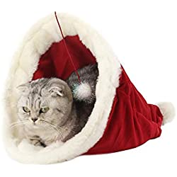DENTRUN Cute Cat Bed Nest Christmas Hat Shape Fleece Plush,Soft Warm Puppy Pad Mat Cat House for Small Dogs Cats,Cover Cage Winter Sleeping Washable Durable Lovely Doghouse