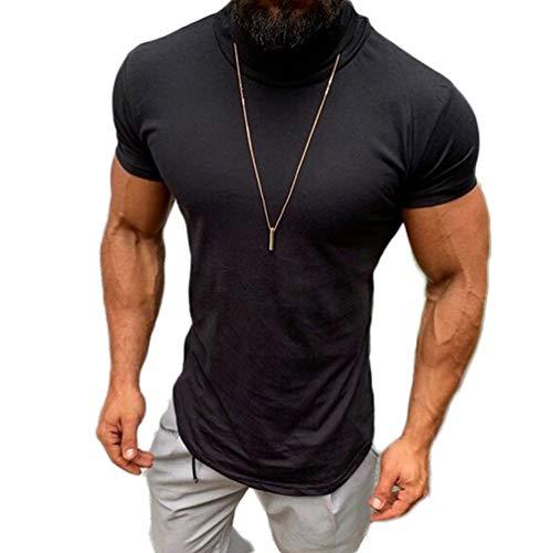 (Mens Casual Turtleneck Short Sleeve T Shirts Bodybuilding Comfy Tee Tops (Black, L))