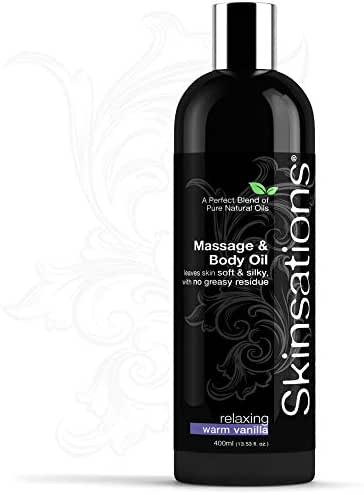 Skinsations - Sensual Massage Oil - Vanilla 13.5oz | Warming, Relaxing, Edible Massage Oil for Couples, Fractionated Coconut Oil Blend with Sweet Almond, Grapeseed oil & Jojoba