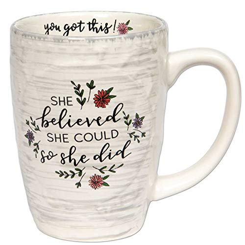 Brownlow Gifts Simple Inspirations Ceramic Coffee Mug, She She Believed She Could