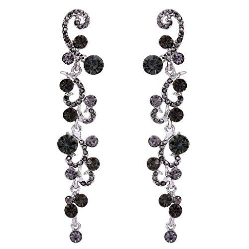 Fancy Earrings Jewelry (EVER FAITH Bridal Flower Wave Austrian Crystal Dangle Earrings Silver-Tone - Black)