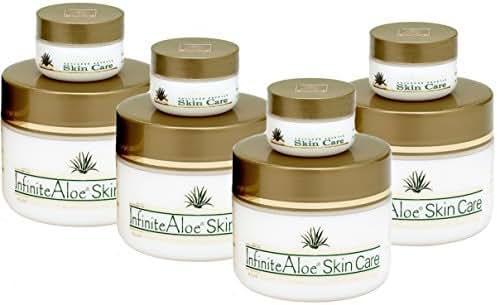 Infinite Aloe Skin Care Cream, Original Scent, 8oz. - 4 Jars - ** (Plus 4 Bonus 0.5 oz InfiniteAloe Travel Jars) **