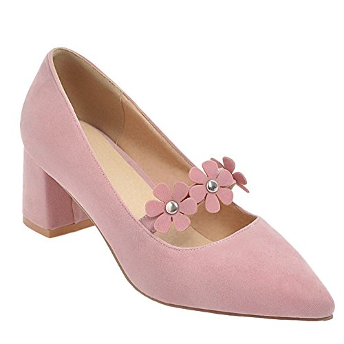 Mee Shoes Damen mit Blumen Chunky Heels Spitz Pumps