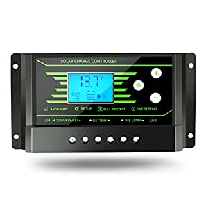 PWM 30A 20A 10A Solar Charge Controller 12V 24V Auto with Back-light LCD Display Dual USB 5V Solar Regulator Charger Z10 Z20 Z30 (Z10)