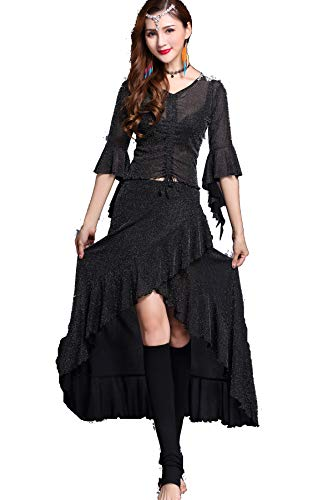 ZLTdream Lady's Belly Dance Halloween Spring Costume V-Collar Top & Fishtail Skirt Black]()